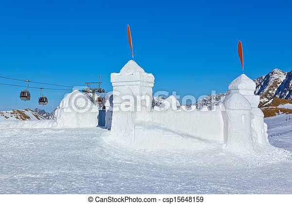 Snow fort in mountains ski resort - Innsbruck Austria - csp15648159