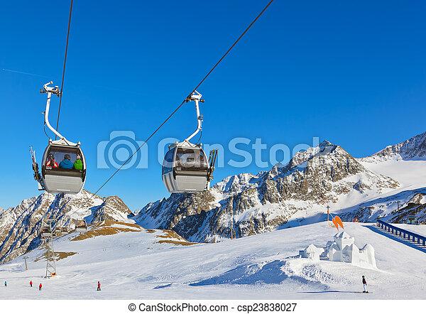 Snow fort in mountains ski resort - Innsbruck Austria - csp23838027