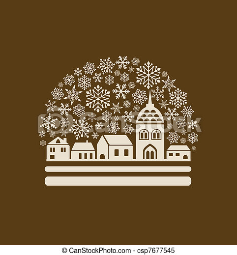 snow globe with a town and snowflakes - csp7677545