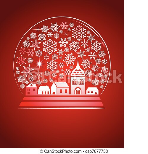 snow globe with a town and snowflakes - csp7677758