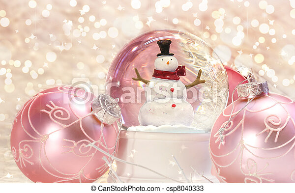 Snow globe with pink ornaments  - csp8040333