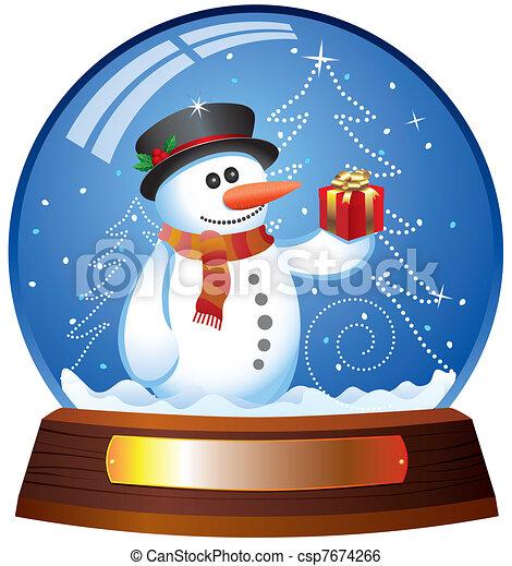 vector snow globe with snowman