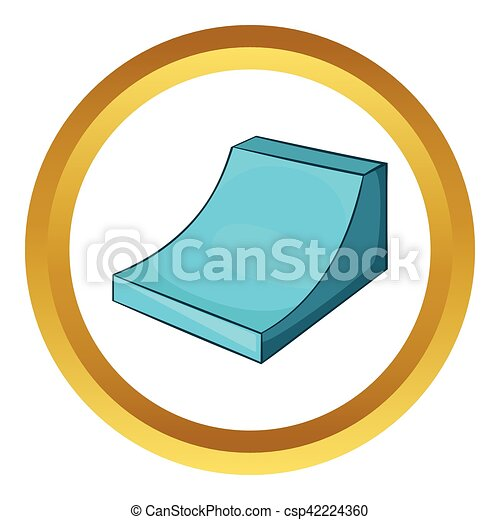 snow half pipe for freestyle vector icon in golden circle cartoon rh canstockphoto com