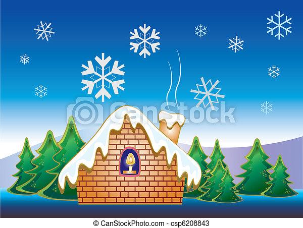 Snow House Stock Vector Illustration Christmas Night