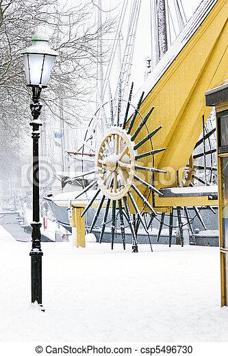 Snow in harbor in winter - csp5496730