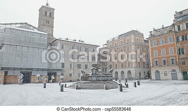 snow in Rome - csp55583646