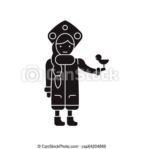 Snow maiden with a bird black vector concept icon. Snow maiden with a bird flat illustration, sign - csp64204866