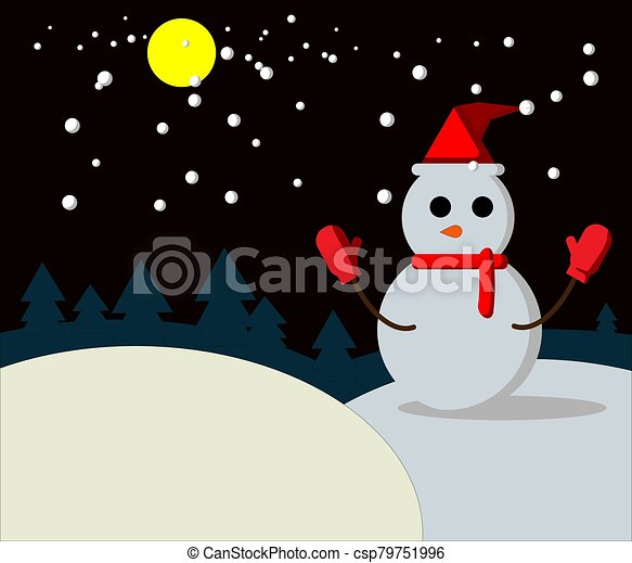Snow man on night winter - csp79751996