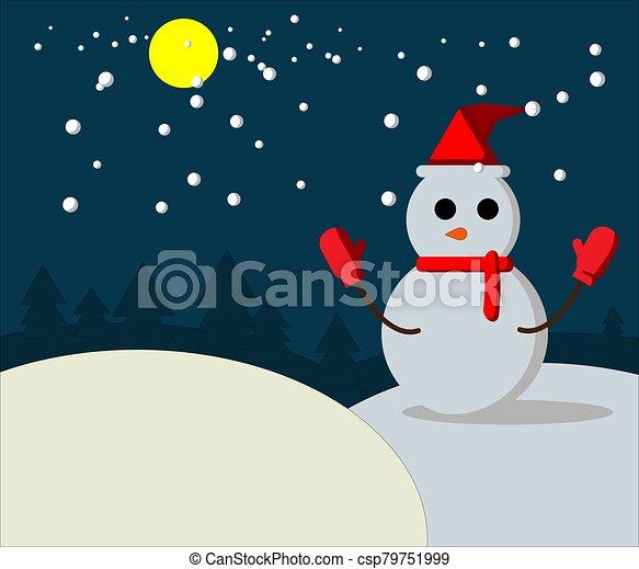 Snow man on night winter - csp79751999