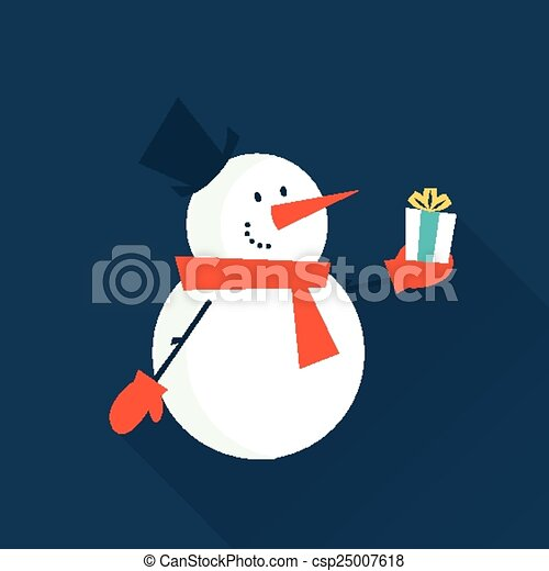 snow man with a gift - csp25007618