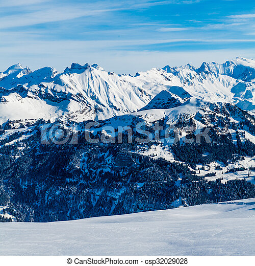 Snow Mountain. Alps Alpine Landscape of Mountain - csp32029028