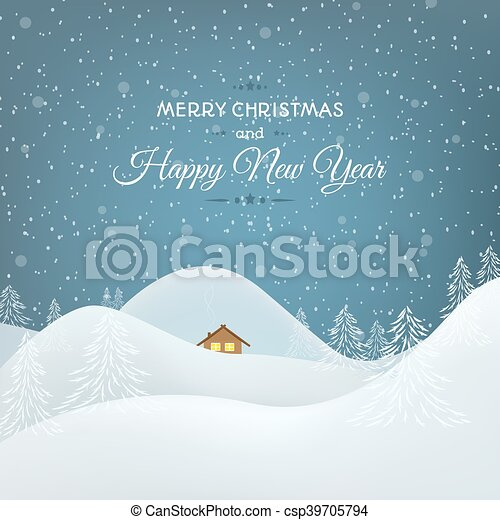 Snow Mountains Landscape Christmas Card Happy New Year Christmas - Christmas card template blue