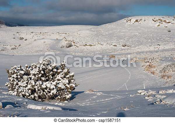 Snow on the Golf Course - csp1587151