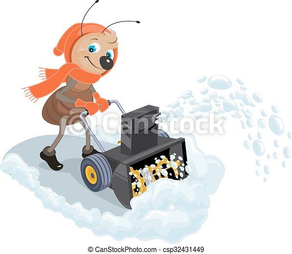 snow-plow., lançador, doméstico, neve - csp32431449