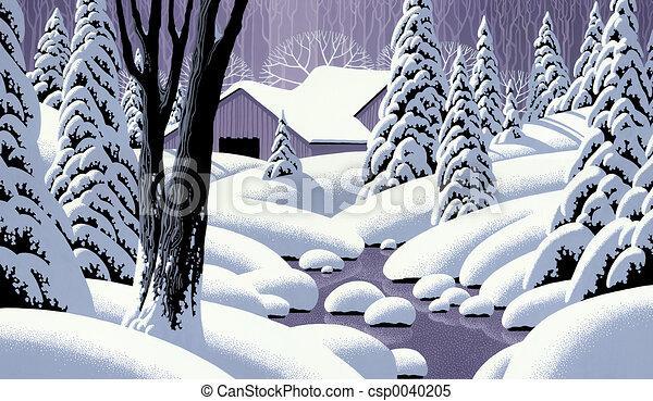Snow Scene with Barn - csp0040205