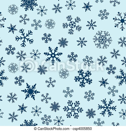 Snow Seamless Blue Vector Background - csp4005850