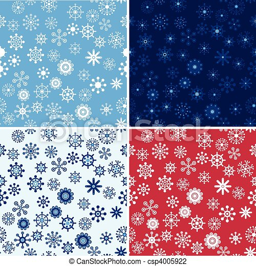 Snow Seamless Vector Background Set - csp4005922