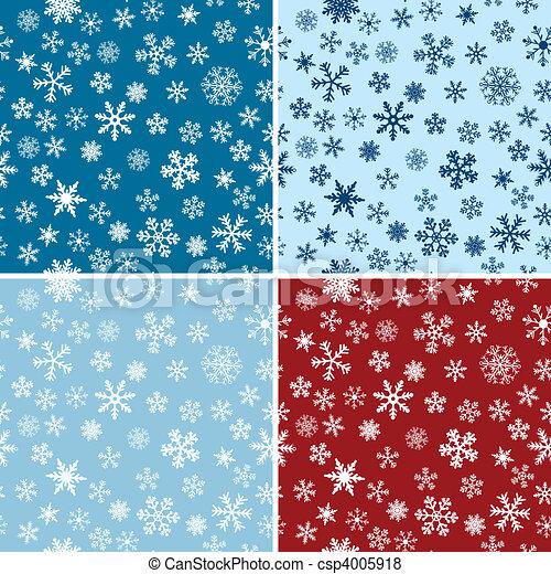 Snow Seamless Vector Backgrounds Set - csp4005918