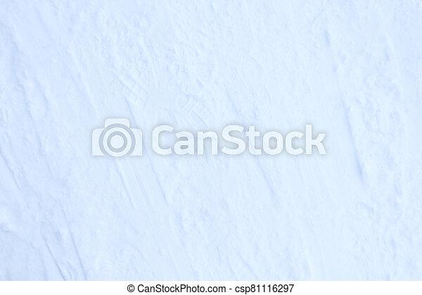Snow skiing track surface. Ski trail texture. Ski run traces background. - csp81116297