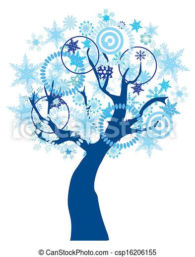 Snow tree. Vector tree with snowflakes.