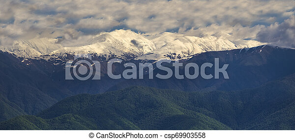 snow-white peaks of the mountains in Kakheti - csp69903558