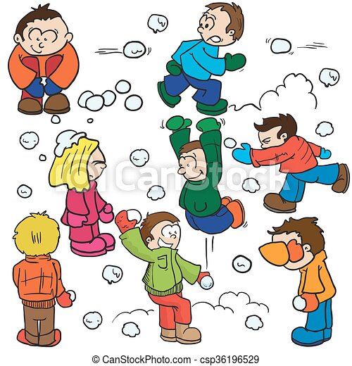 snowball fight cartoon illustration rh canstockphoto com snowball fight clipart black and white Snowball Fight Cartoon