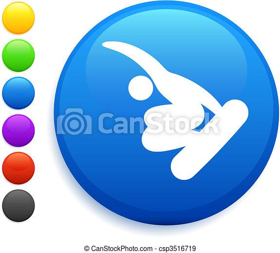 snowbaord (skateboard) icon on round internet button - csp3516719