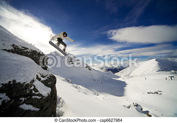 snowboard, 低下, 崖 - csp6627984