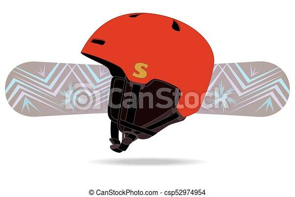 snowboard and helmet - csp52974954