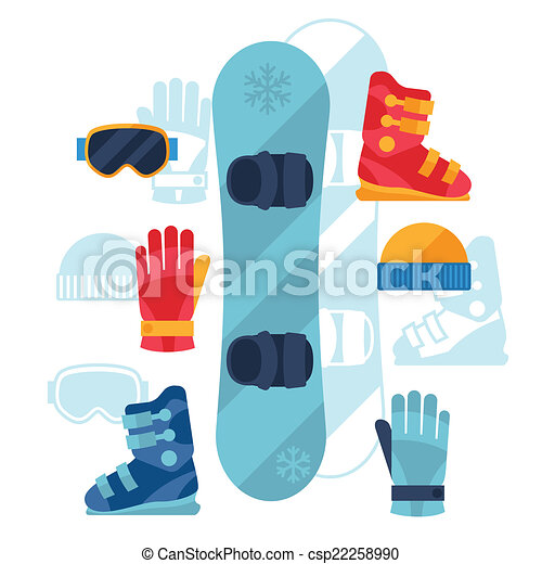 Snowboard equipment icons set in flat design style. - csp22258990