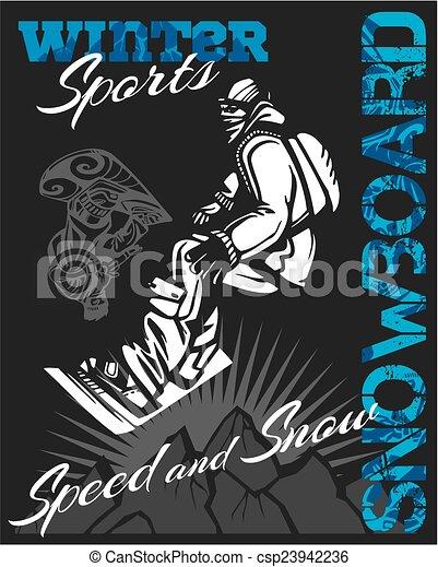 Snowboard - winter sport. Vector stock illustration. - csp23942236