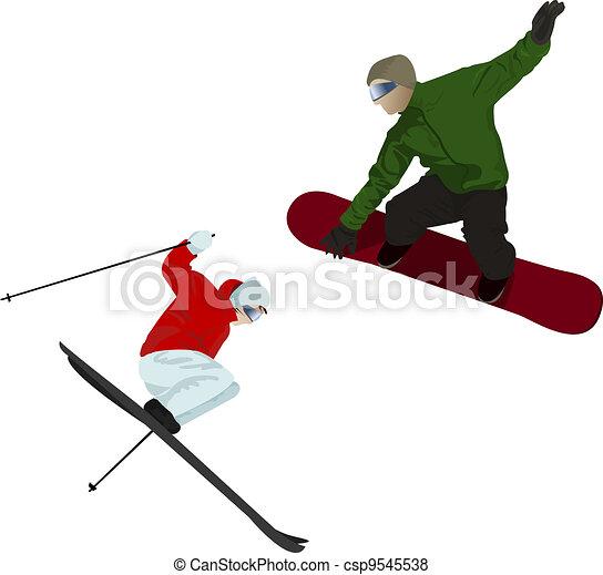 Snowboarder and skier - csp9545538