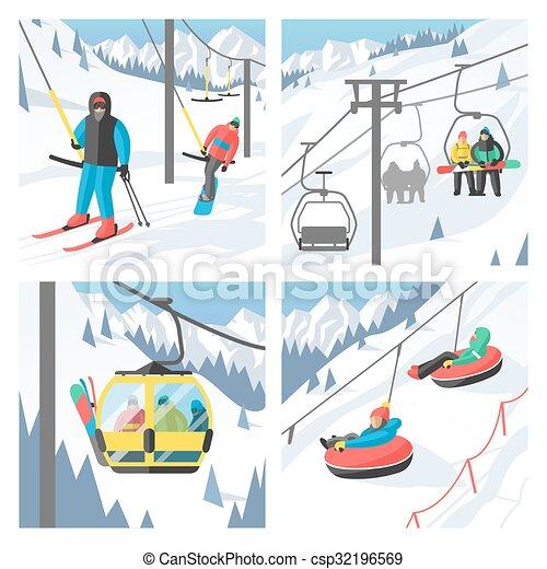 Snowboarder sitting in ski gondola and lift elevators. Winter sport resort background - csp32196569