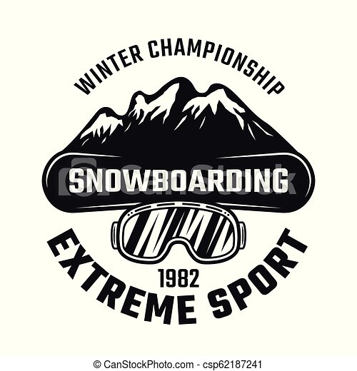 Snowboarding emblem with board and mountains - csp62187241