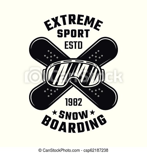 Snowboarding emblem with ski glasses and boards - csp62187238
