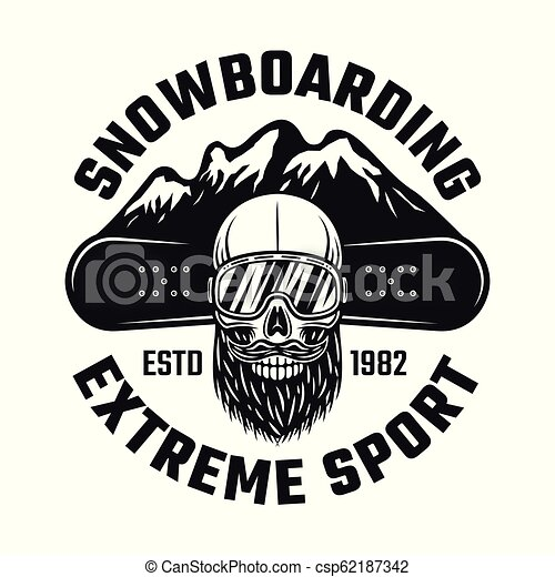 Snowboarding emblem with skull and mountains - csp62187342