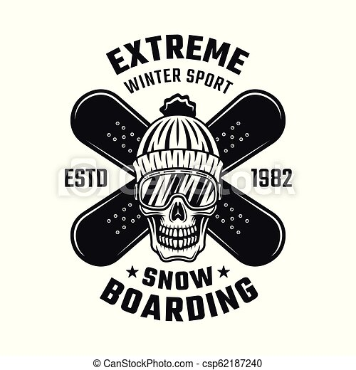 Snowboarding emblem with skull and two boards - csp62187240