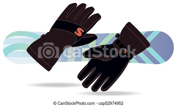snowboarding gloves with snowboard in the background - csp52974952