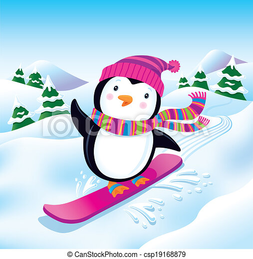 Snowboarding Penguin On The Slopes Cartoon Illustration Of A Cute Penguin Snowboarding Down A Snowy Slope Wearing A Bright