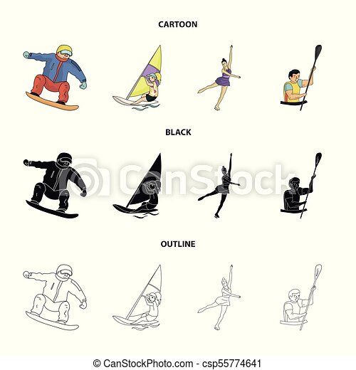 Snowboarding, sailing surfing, figure skating, kayaking  Olympic sports set  collection icons in cartoon,black,outline style vector symbol stock