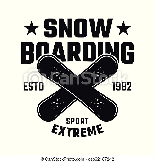 Snowboarding vector emblem with two crossed boards - csp62187242