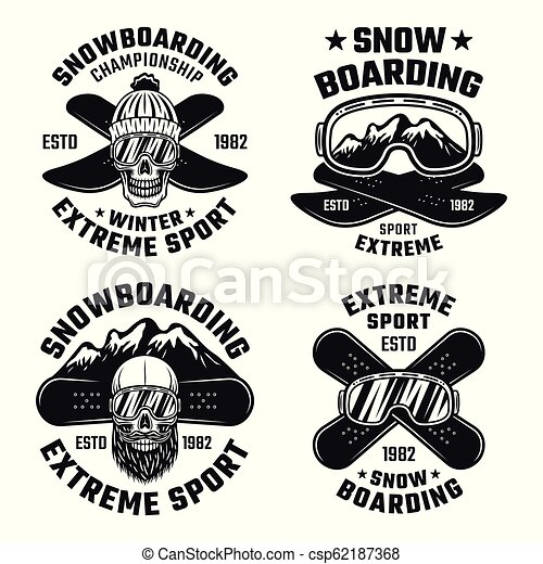 Snowboarding vector emblems, badges, labels, logos - csp62187368