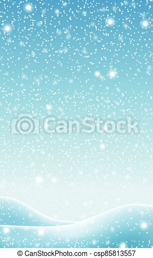 Snowdrifts on a background of blue sky with falling snow - csp85813557
