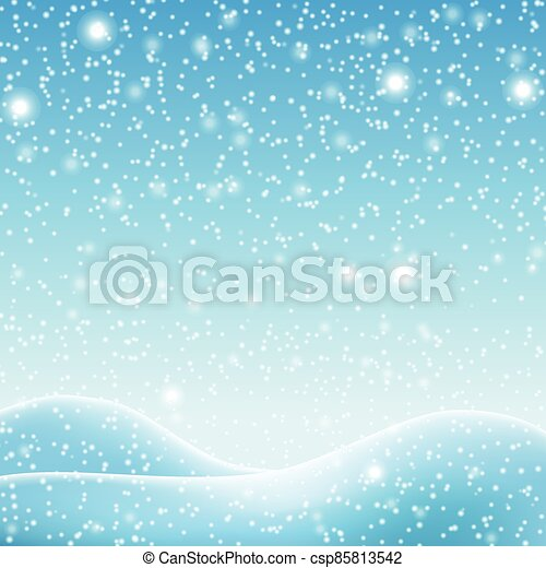 Snowdrifts on a background of blue sky with falling snow - csp85813542
