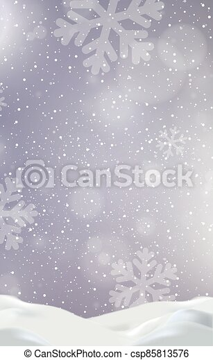 Snowdrifts on a background of blue sky with falling snow - csp85813576