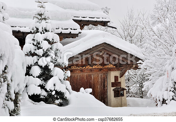 snowfall in a village - csp37682655