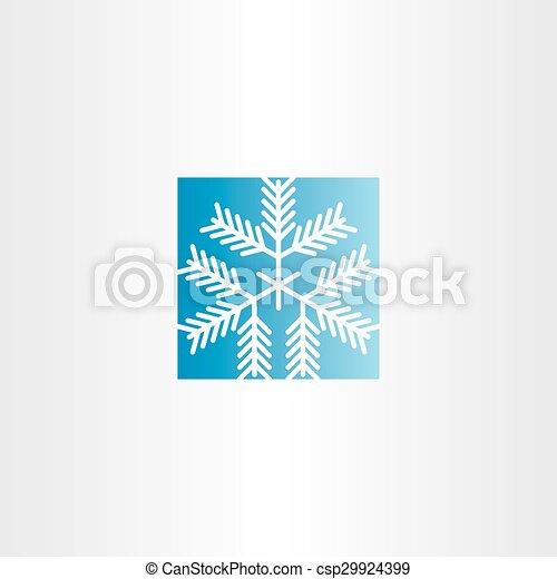 snowflake blue square icon - csp29924399