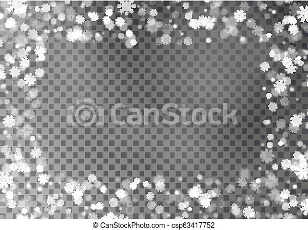 Snowflake border vector isolated on transparent background. Christmas falling snow frame. Winter xma - csp63417752