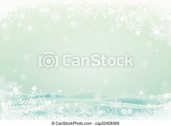 Snowflake border with snow hills background - csp32408369