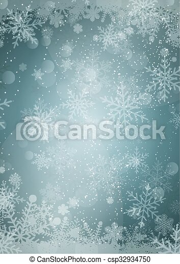 Snowflake border with snow hills background - csp32934750